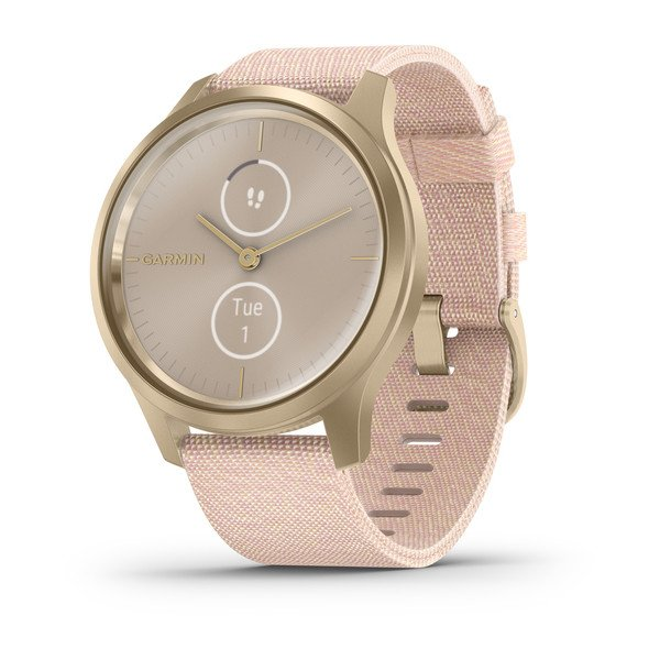 Garmin Vivomove Style - Blush Pink Nylon with Light Gold Hardware