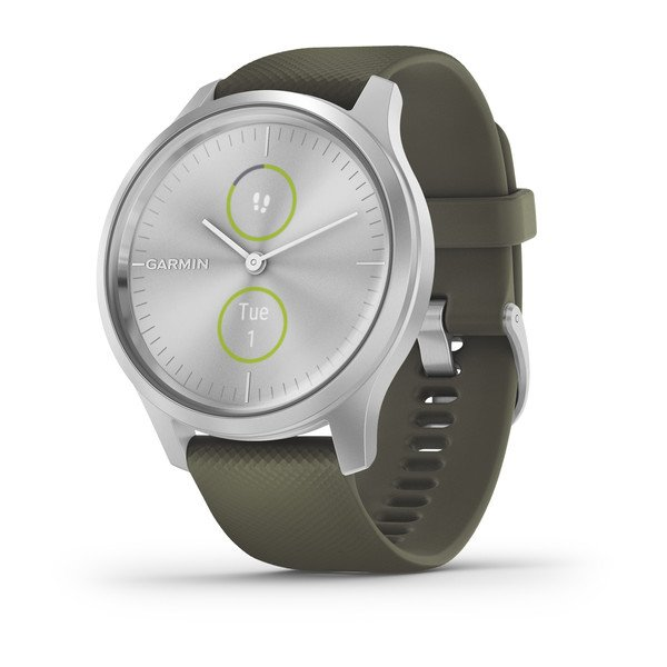Garmin Vivomove Style - Moss Green Silicone with Silver Hardware